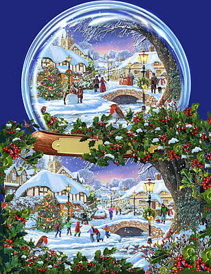 Christmas Snow Globe Art Print