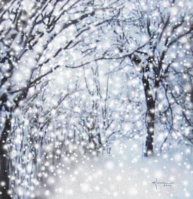 Park Scene Digital Art - Christmas Snow by Kume Bryant
