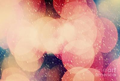 Vibrant Photograph - Christmas Snowing Blizzard Bokeh Background by Michal Bednarek