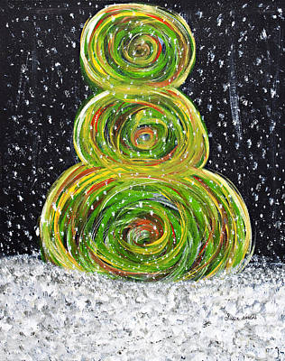 Painting - Christmas Snowman by Susan Abrams