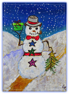 The Trees Mixed Media - Christmas Snowman With Gifts Of Love by Ella Kaye Dickey