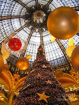 Photograph - Christmas Spirit In Paris At The Galeries Lafayette 1 by Menega Sabidussi