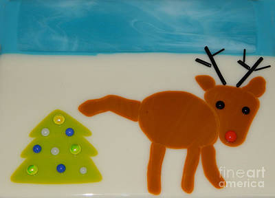 Glass Art - Christmas Spirit by Patricia  Tierney
