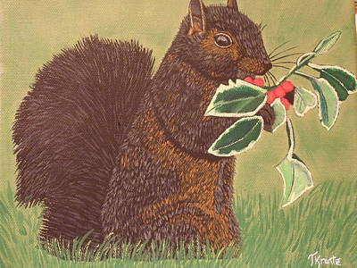 Marsupial Painting - Christmas Squirrel by Tammy Rekito