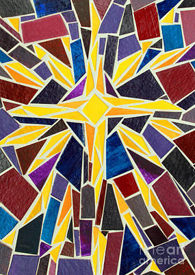 Christmas Star Of Bethlehem Mosaic Christmas Card Art Print by Adam Long