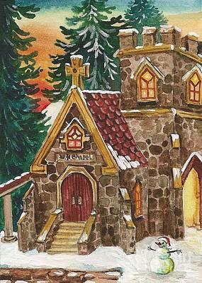 Wedding Chapel Painting - Christmas Steeple by Margaryta Yermolayeva