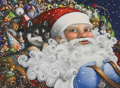 Santa Claus Painting - Christmas Stowaway by Lynn Bywaters