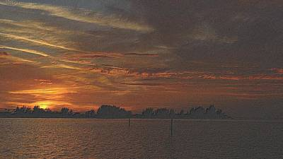 Drawing - Christmas Sunset 2 by Richard Zentner