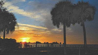 Drawing - Christmas Sunset by Richard Zentner