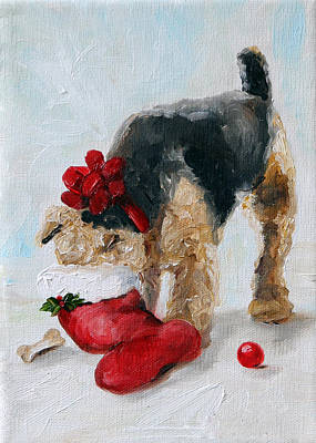 Airedale Terrier Painting - Christmas Surprise by Mary Sparrow