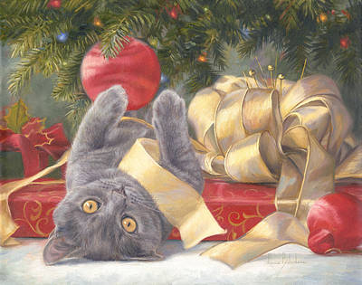 Kitten Painting - Christmas Surprise by Lucie Bilodeau