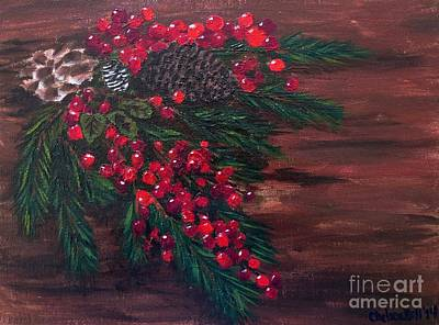 Holly Berry Still Life Painting - Christmas Swag by CE Dill