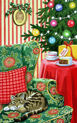 Tabby Painting - Christmas Tea by Lavinia Hamer