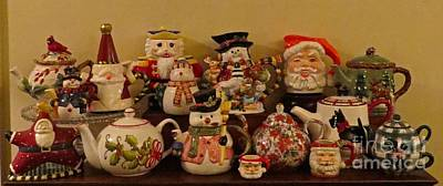 Photograph - Christmas Teapots by Nancy Patterson