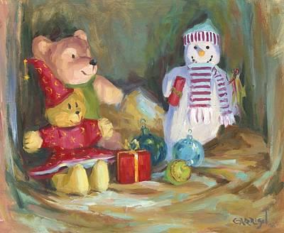 Christmas Teddy Bears Art Print