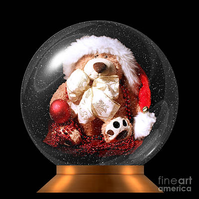 Photograph - Christmas Teddy Snow Globe by Terri Waters