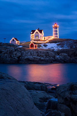 Winter Night Photograph - Christmas Time At Nubble Light. by Jeff Sinon