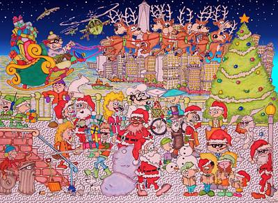 Nyc Mixed Media - Christmas Time In The City by Paul Calabrese