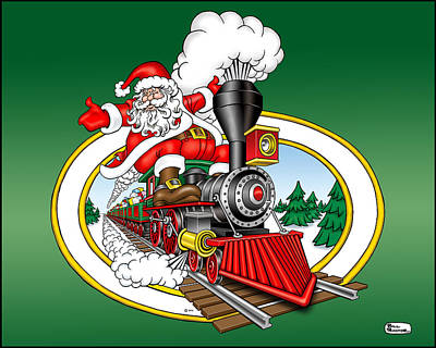 Wall Art - Digital Art - Christmas Train by Bill Proctor