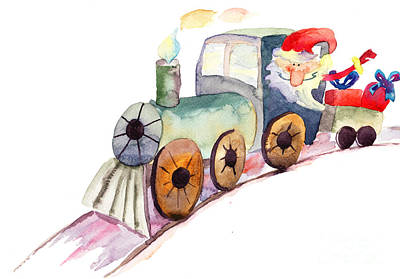 Christmas Train With Santa Claus Art Print