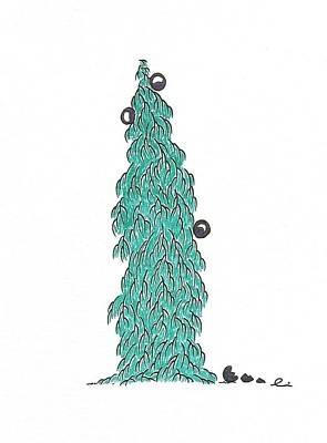 Drawing - Christmas Tree 5 by Andrea Currie