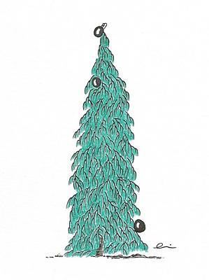 Drawing - Christmas Tree 6 by Andrea Currie