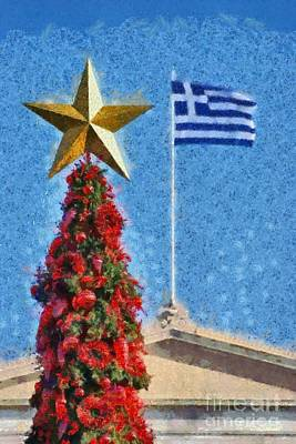 Painting - Christmas Tree And Greek Flag by George Atsametakis