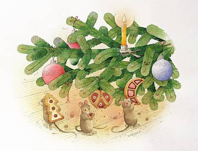 Nibbling Painting - Christmas Tree And Mice by Kestutis Kasparavicius
