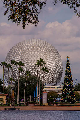 Christmas Tree And Spaceship Earth Art Print