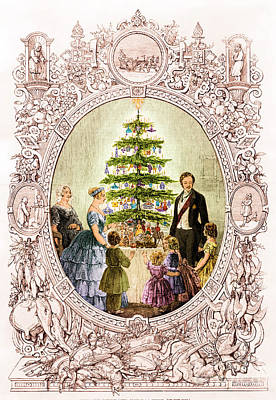 Christmas Tree At Windsor Castle 1848 Art Print by Photo Researchers