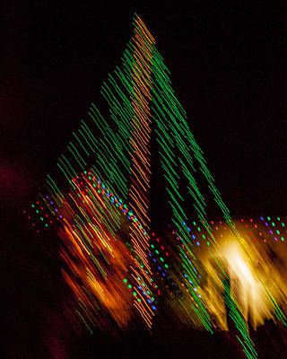 Photograph - Christmas Tree Bright Lights Fine Art Original Photography Abstract Print  by Jerry Cowart