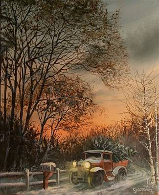 Snow Scene Painting - Christmas Tree Delivery by Tom Shropshire
