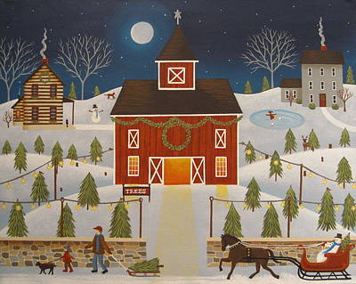 Folk Art Painting - Christmas Tree Farm by Mary Charles