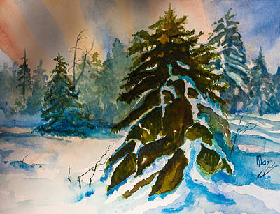 Painting - Christmas Tree Forest by Lee Stockwell