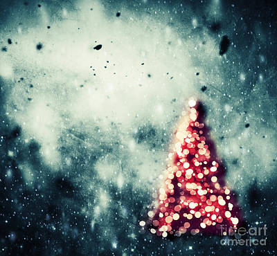 Merry Photograph - Christmas Tree Glowing On Winter Vintage Background by Michal Bednarek