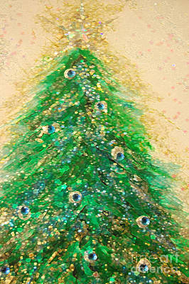 Christmas Tree Gold By Jrr Art Print