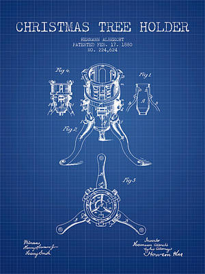 Digital Art - Christmas Tree Holder Patent From 1880 - Blueprint by Aged Pixel