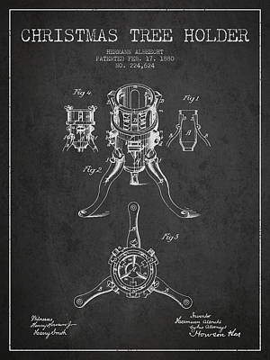 Christmas Tree Holder Patent From 1880 - Charcoal Art Print by Aged Pixel