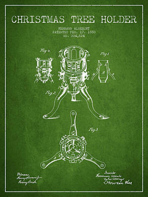 Digital Art - Christmas Tree Holder Patent From 1880 - Green by Aged Pixel