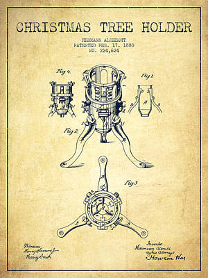 Digital Art - Christmas Tree Holder Patent From 1880 - Vintage by Aged Pixel