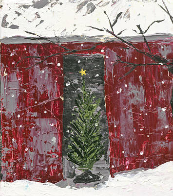 Christmas Tree In Barn Art Print