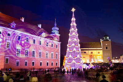 Christmas Tree In Warsaw Old Town Art Print by Artur Bogacki