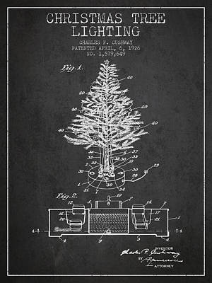 Christmas Tree Lighting Patent From 1926 - Dark Art Print by Aged Pixel