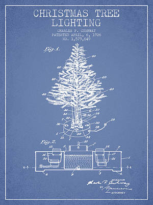 Digital Art - Christmas Tree Lighting Patent From 1926 - Light Blue by Aged Pixel