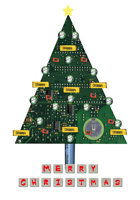 Mother Board Painting - Christmas Tree Motherboard by Mary Helmreich