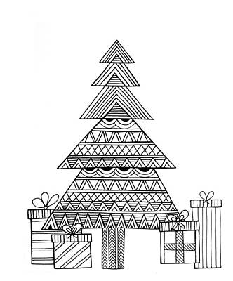 Holiday Drawing - Christmas Tree by Neeti Goswami