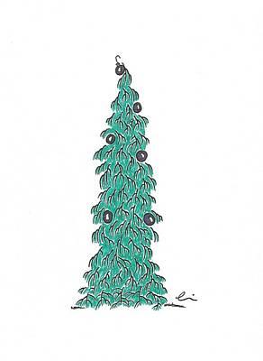 Drawing - Christmas Tree 1 by Andrea Currie