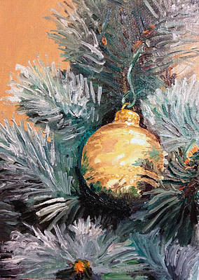 Globe Painting - Christmas Tree Ornament Gold by Arch