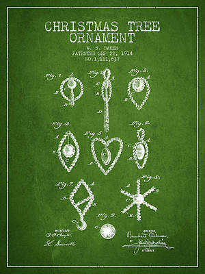 Christmas Tree Ornament Patent From 1914 - Green Art Print by Aged Pixel