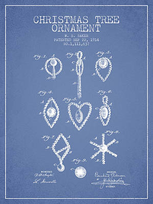 Christmas Tree Ornament Patent From 1914 - Light Blue Art Print by Aged Pixel
